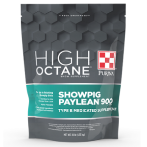 Purina High Octane Showpig Paylean 900 Medicated. Grey and teal 10-lb pouch.